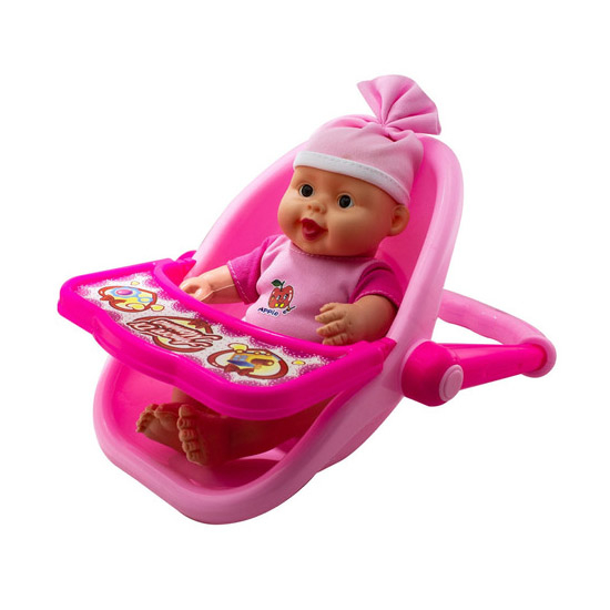 Játék baba bébi hordozóban türkiz és rózsaszín színben