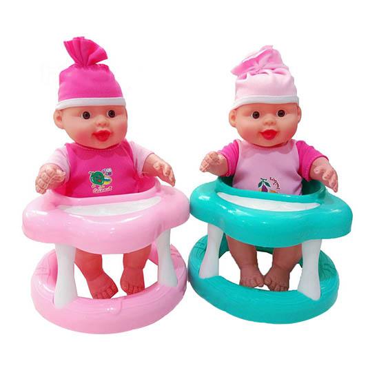 Játékbaba babykomppal. 2 változatban. Türkiz vagy rózsaszín babykomppal- CsimpiStore Webáruház