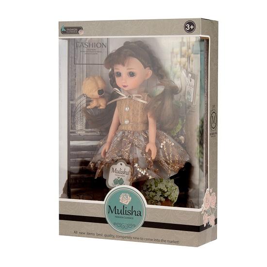 Mulisha doll, Emily baba csillogó ruhában, kutyussal- CsimpiStore Webáruház