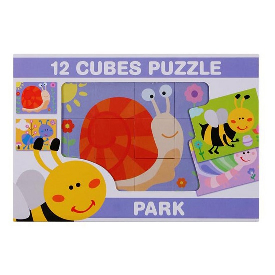 Fejlesztő műanyag képes kocka kirakós játék. 12-db-os. Rovarok, apró állatok.- CsimpIStore Webáruház