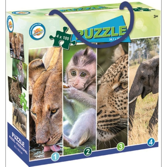 Vadon élő Állatok puzzle 4x100 darab