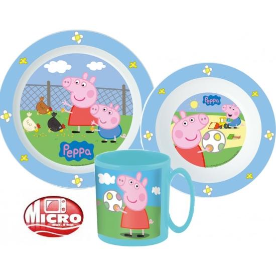 Peppa Pig étkészlet, mikrohullámú műanyag