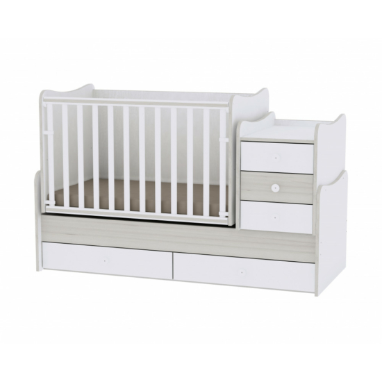Lorelli Maxi Plus kombi ágy 70x160 - White & Light Oak / Fehér & Világos Tölgy