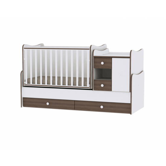 Lorelli MiniMax kombi ágy 72x190 - White & Walnut / Fehér & Dió